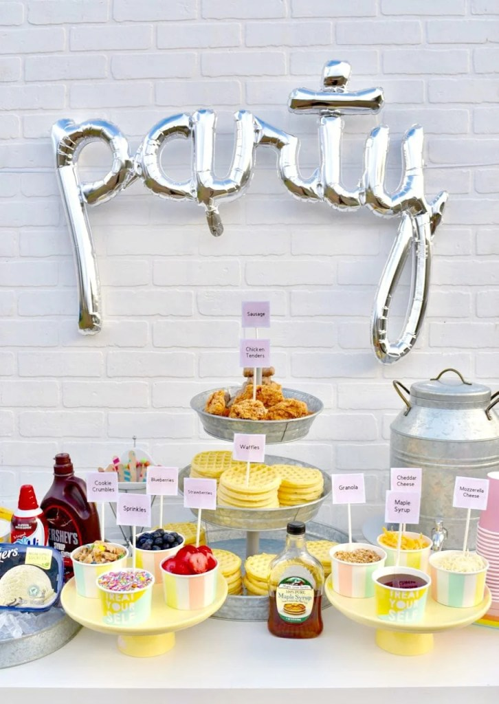 Cute waffle bar party ideas, perfect for a waffle bar birthday party. Free printables too!