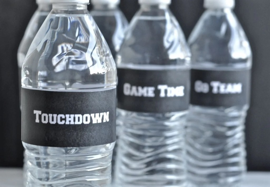 Free printable football water bottle labels