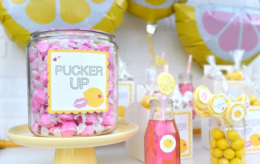 Pucker Up Valentine's Day party theme with lips and lemons