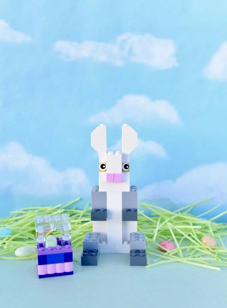 DIY LEGO Easter bunny figure with LEGO Easter basket