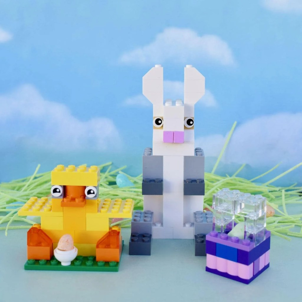 DIY Lego Easter bunny, chick, and LEGO Easter basket directions square