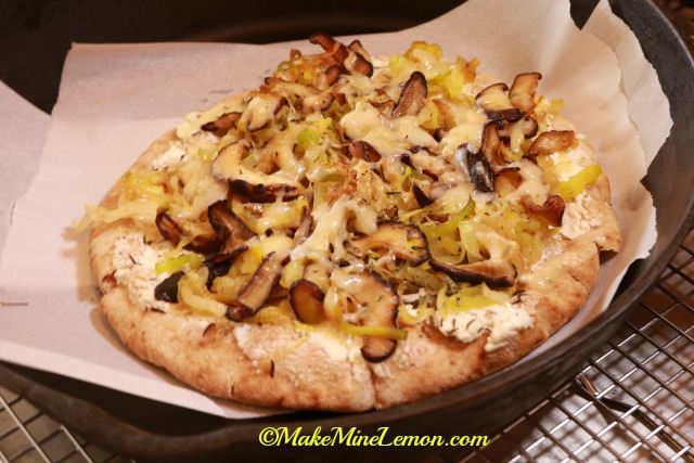 Leek and Mushroom on Flatbread
