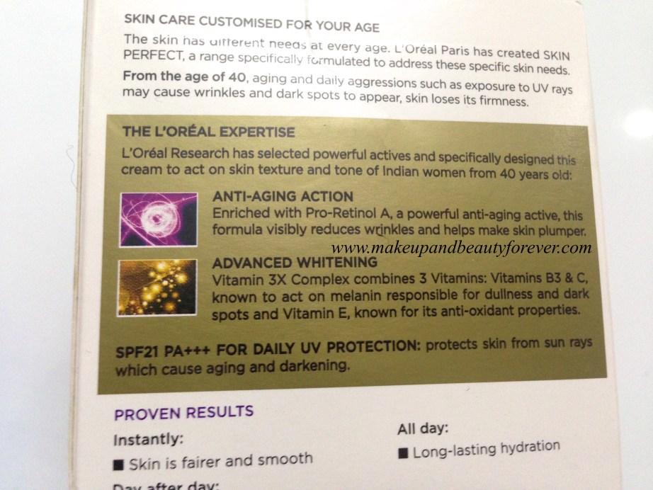 L'Oreal Paris Skin Perfect Anti-Aging + Whitening Cream For Age 40+ Review fairness cream