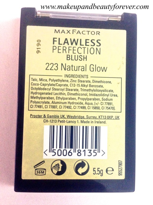 MaxFactor Flawless Perfection Blush 223 Natural Glow Review ingredients