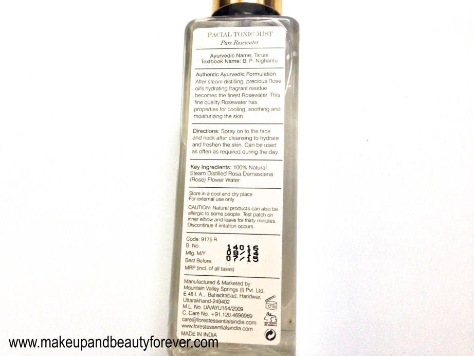 Forest Essentials Facial Tonic Mist Pure Rosewater Review details price India