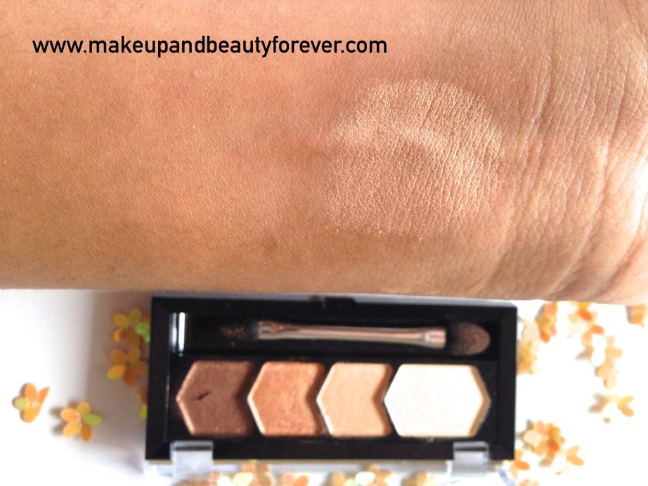 Maybelline Eyestudio Diamond Glow Eye Shadow Quad 01 Copper Brown Review Swatches Price MBF