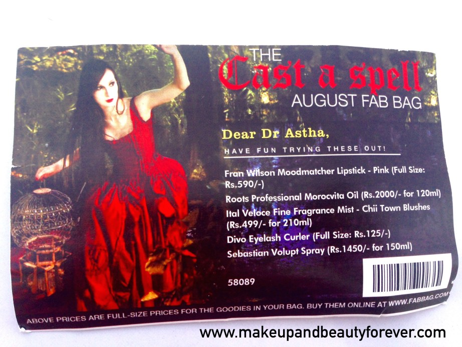 Fab Bag August 2015 Cast A Spell India Beauty Box Bag