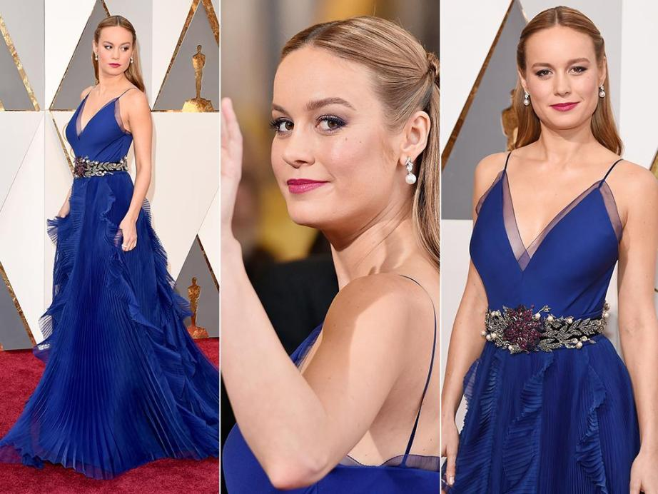 Brie Larson Best Actress oscars 2016 blue custom Gucci dress