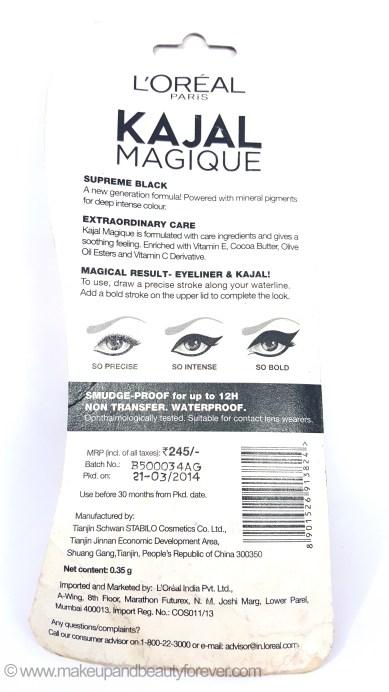 L'Oreal Paris Kajal Magique Supreme Black Review details