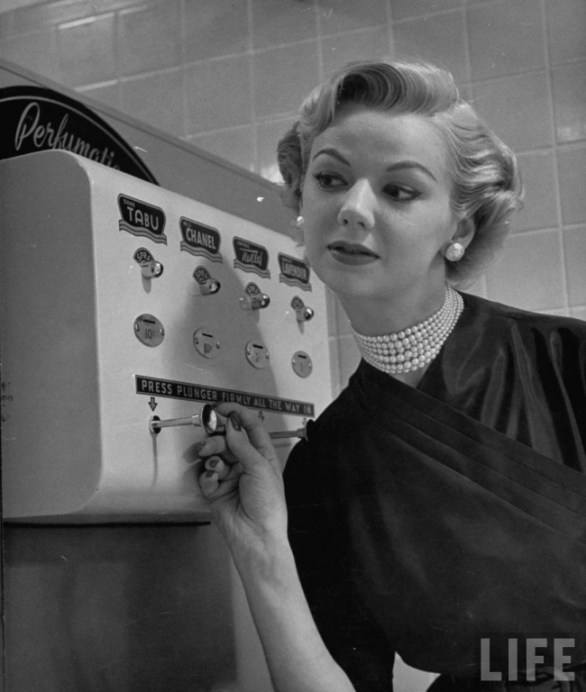 1950 vintage chanel coin operated perfume spraying machine