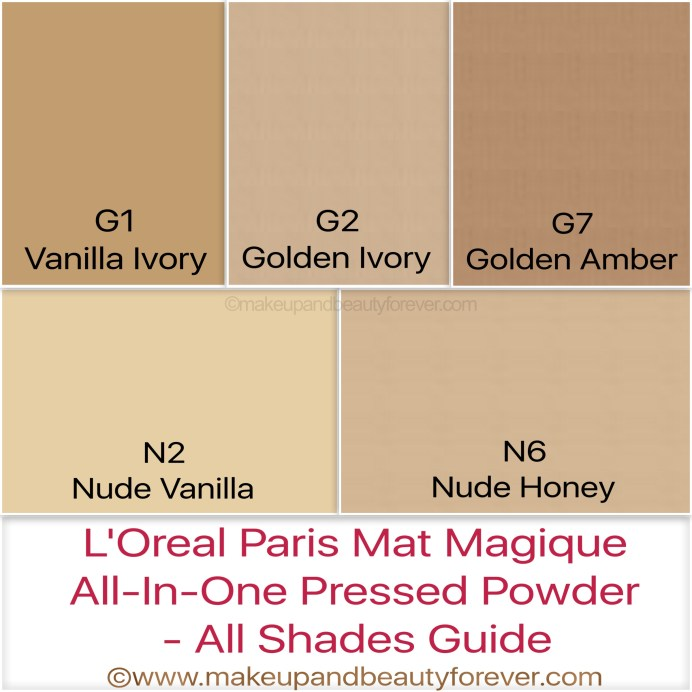 All Shade guide L'Oreal Mat Magique Compact Powder Shades price Review