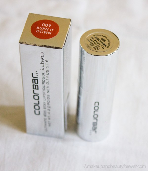 Colorbar Ultimate 8 Hour Stay Lipstick Burn it Down 009 Review