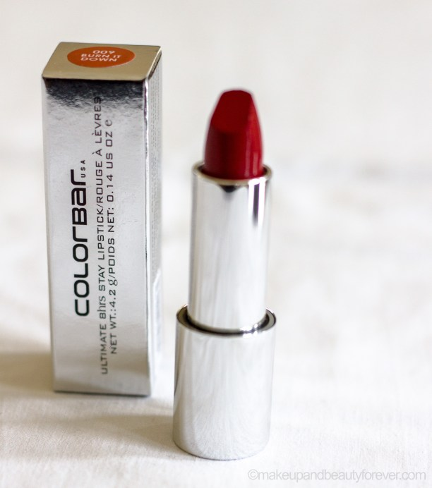 Colorbar Ultimate 8 Hour Stay Lipstick Burn it Down Review Blog