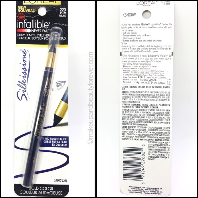 L'Oreal Infallible Silkissime Eyeliner Plum Review Swatches