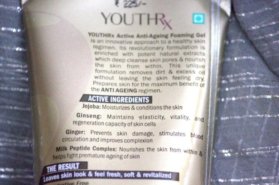 Lotus Herbals YOUTHRx Active Anti Ageing Foaming Gel Review ingredients