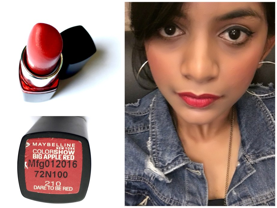 Maybelline Color Show Big Apple Red Lipstick Dare To Be Red M 210 Review Swatches Pooja C