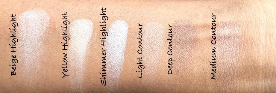 Freedom Pro Strobe Highlight and Contour Palette With Brush Review Swatches on hand