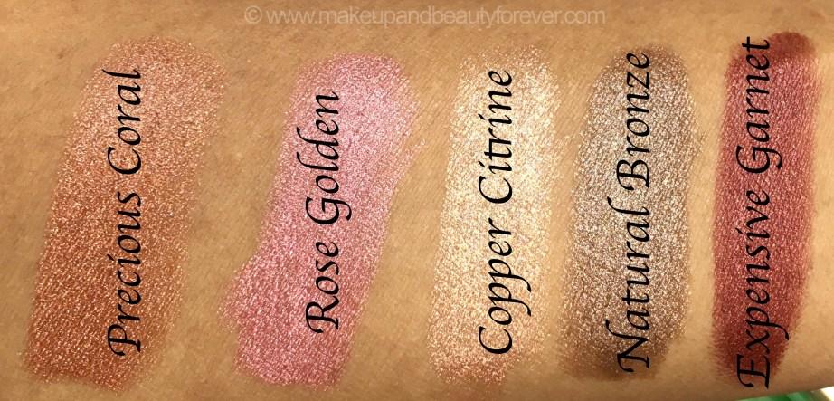 All Colorbar Diamond Shine Lipstick 5 Shades Review Swatches Rose Golden 01 Copper Citrine 02 Precious Coral 03 Natural Bronze 4 Expensive Garnet 05