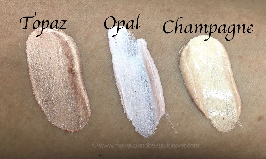 All Faces Ultime Pro Metaliglow Illuminator liquid Highlighter Opal Topaz Champagne 3 Shades Review Swatches