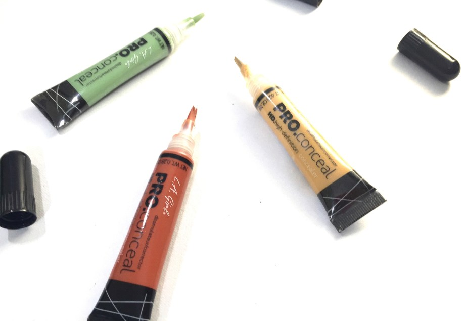L A Girl Pro Conceal HD Orange Green Yellow Correctors Review Swatch Demo