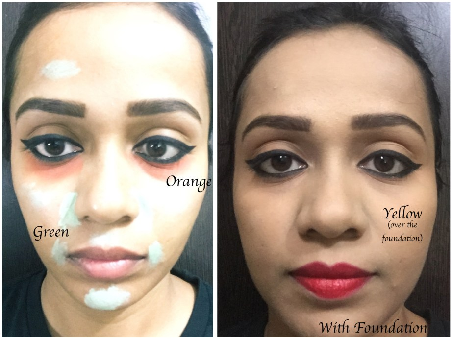 L A Girl Pro Conceal HD Orange Green Yellow colour Corrector Review Swatches Demo MBF Makeup Look