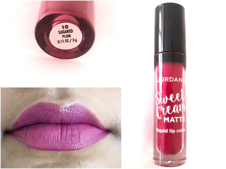 Jordana Sweet Cream Matte Liquid Lipstick Sugared Plum Review Swatches