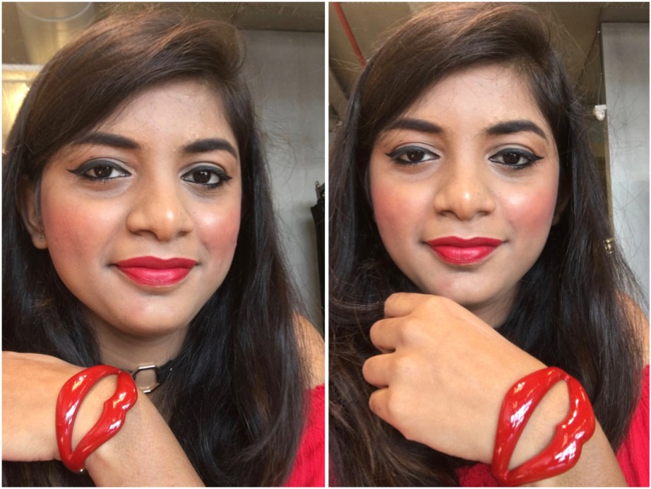 Sugar Its A Pout Time Vivid Lipstick That 70s Red Review Swatches H&M Bracelet MBF Makeup Look
