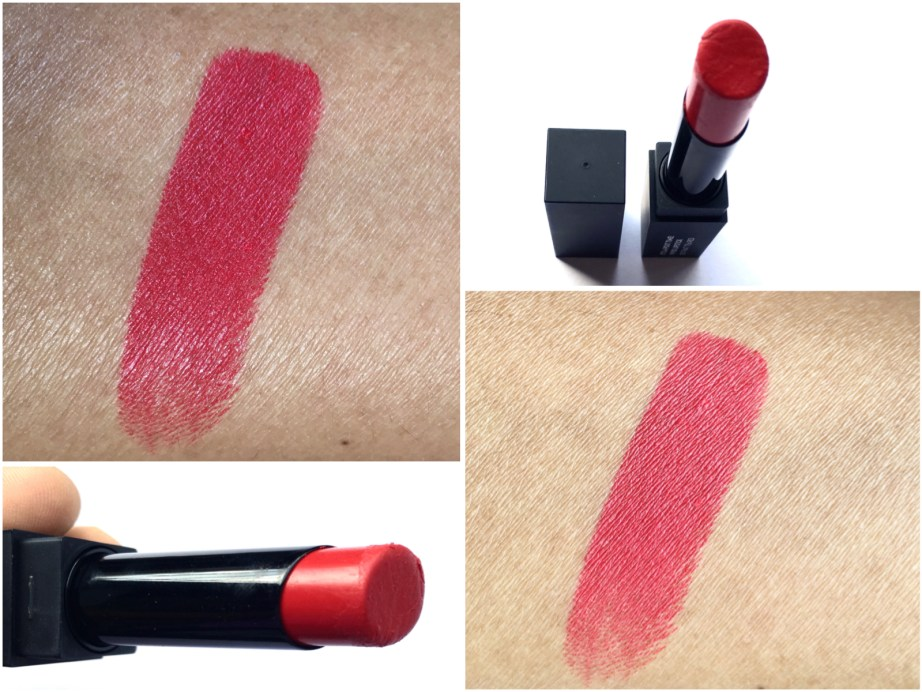 Sugar Its A Pout Time Vivid Lipstick That 70s Red Review Swatches on hand