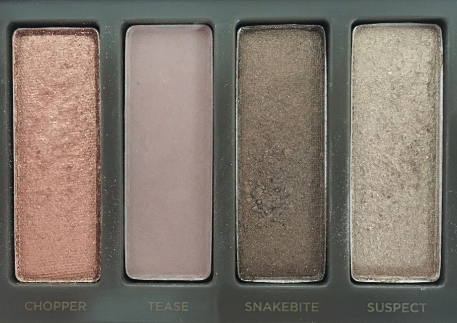 Urban Decay Naked 2 Eyeshadow Palette Review Swatches closeup chopper tease snakebite suspect
