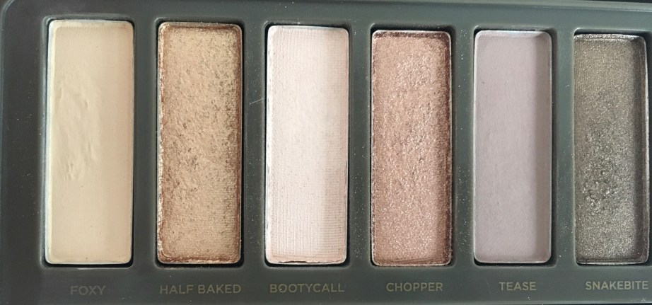 Urban Decay Naked 2 Eyeshadow Palette Review Swatches closeup foxy halfbaked bootycall chopper tease snakebite