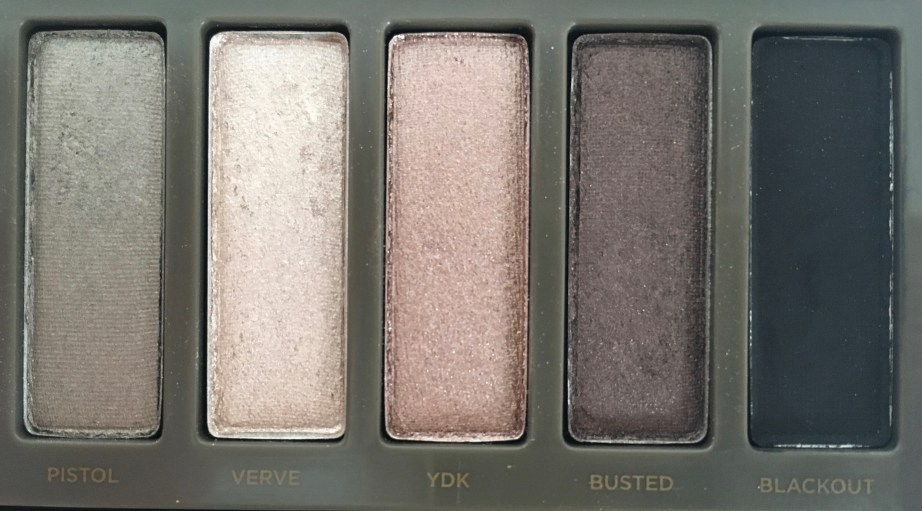 Urban Decay Naked 2 Eyeshadow Palette Review Swatches closeup pistol verve YDK busted blackout