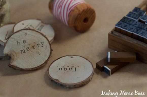 stamped birch ornaments