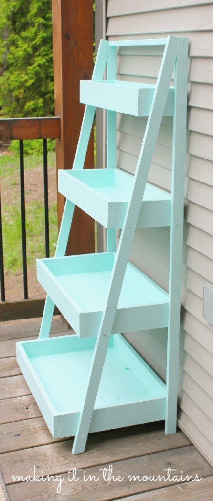 diy ladder shelf making it in the mountains. Black Bedroom Furniture Sets. Home Design Ideas
