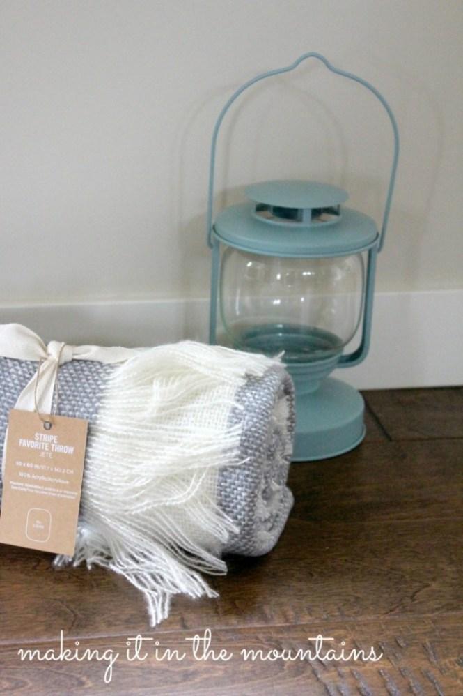 blanket and lantern