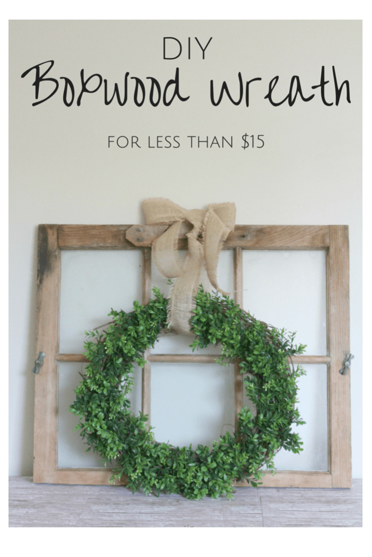 Perfect indoors or out, this DIY Boxwood Wreath was so simple and inexpensive to make!