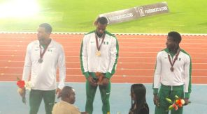 L-R, Alex Al-Ameen, Tryon Akins & Martins Ogieriakhi being awarded their Silver, GOLD and Bronze Medals respectively by AFN President, Solomon Ogba