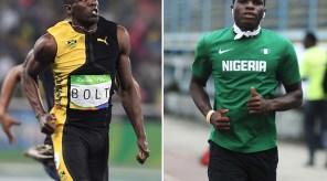 Nigeria's Divine Oduduru will be running in the same heat as Usain Bolt in the men's 200m