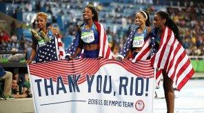 Team USA quartet: Natasha Hastings, Phyllis Francis, Allyson Felix & Courtney Okolo celebrating winning GOLD in women's 4x400m at Rio 2016 Olympics. Photo Credit: @iaaforg
