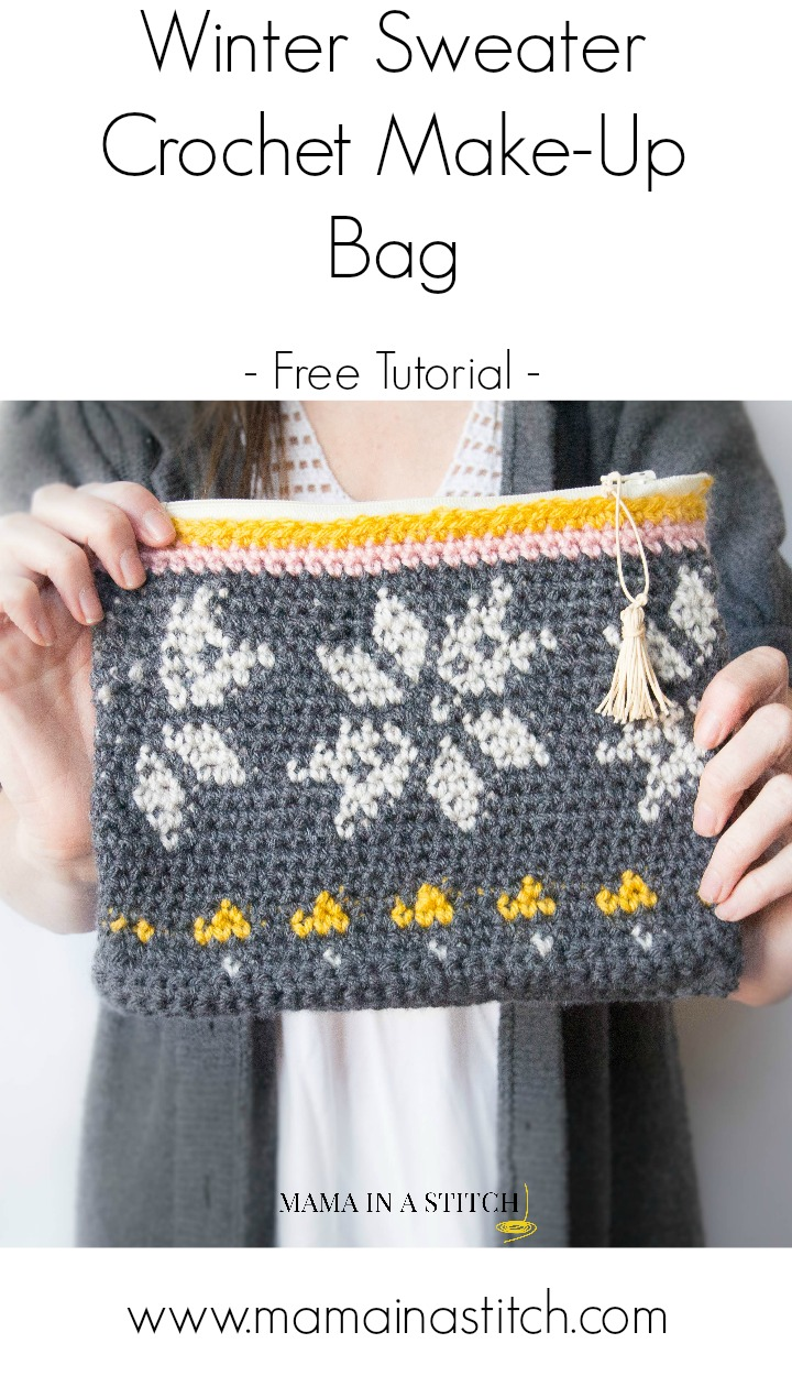 "Knitting Zipper Tutorial : Knit look ""sweater tapestry crochet bag"