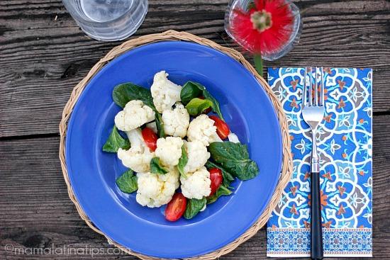 Curried Cauliflower and Spinach Salad with Mango Rice Vinegar