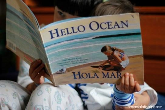 kids reading a bilingual book