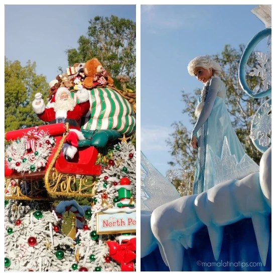 Santa Claus and Elsa in the Christmas Fantasy Parade at Disneyland