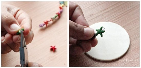 Creating you own christmas ornaments - Attaching beads