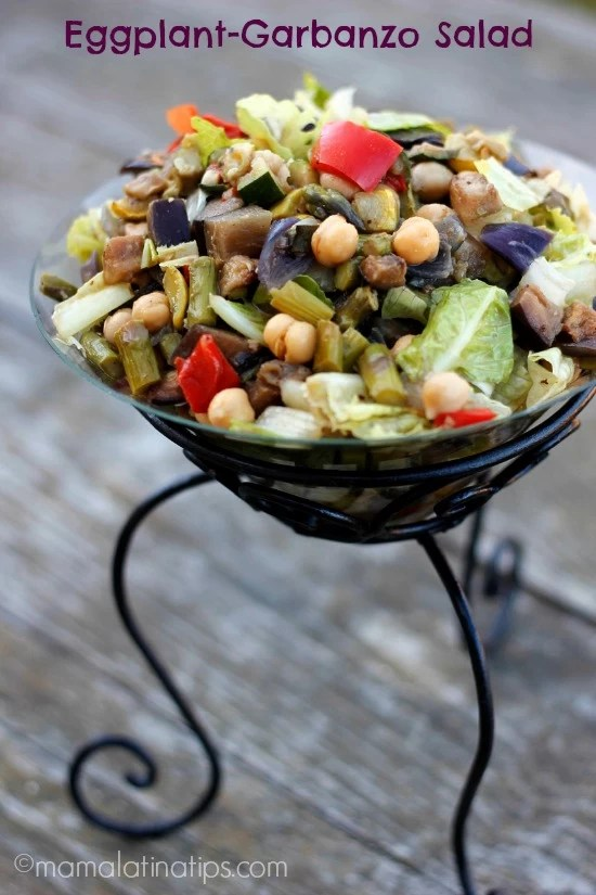 Eggplant and garbanzo salad - mamalatinatips.com