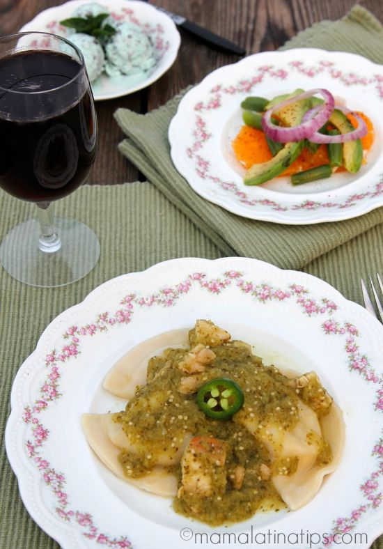Pierogies with chicken in salsa verde
