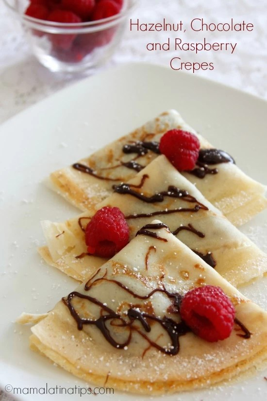 Hazelnut Chocolate and Raspberry Crepes