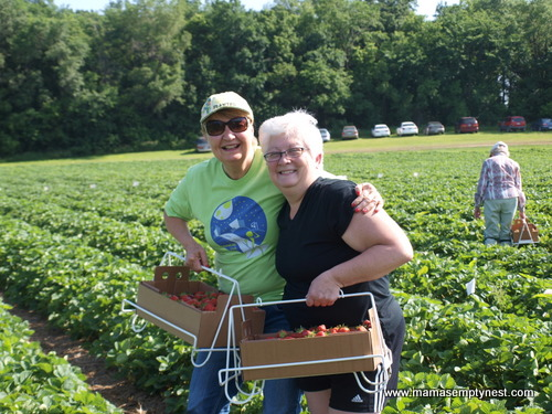 Shari and Mama at Lorence's MN strawberry picking