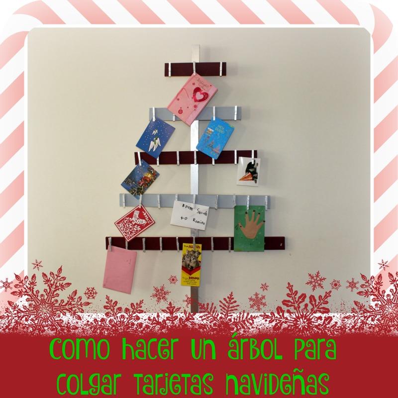 como hacer un árbol para colgar las tarjetas navideñas