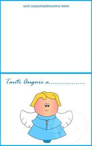 Biglietti per nascita e/o battesimo: angelo celeste in biglietti da stampare