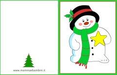 Biglietto auguri Natale: pupazzo neve